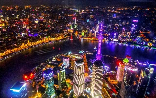中国上海中心大厦の夜景